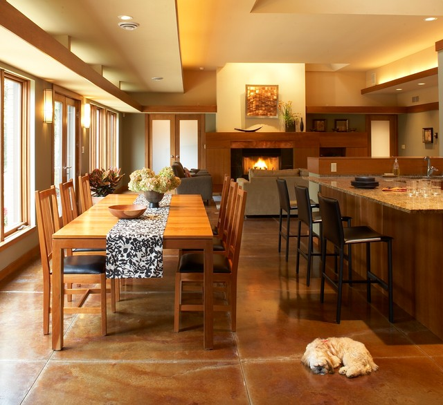Electric Radiant Floor Heating Dining Room Modern with Dog Eat in Kitchen Fireplace Granite Counter Large Windows Leather