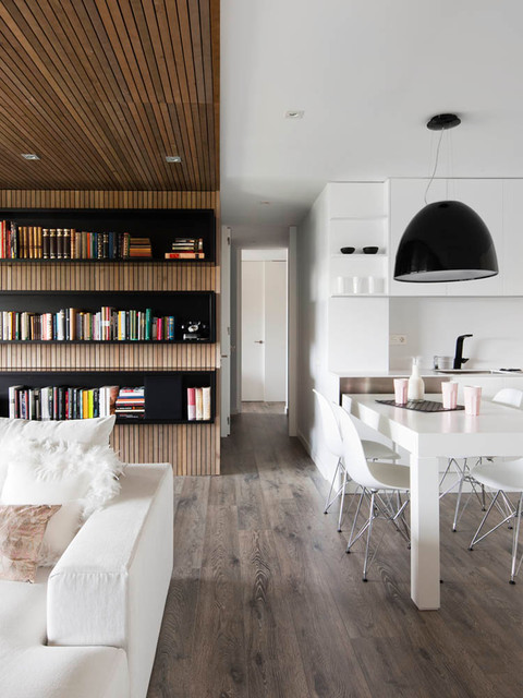 Electric Radiant Floor Heating Kitchen Contemporary with Black Bookshelves Built in Bookshelves Contemporary Design Eames Infurn Interior
