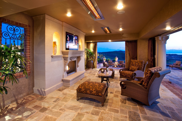 Electric Radiant Floor Heating Patio Mediterranean with Brick Trim Carved Stone Columns Covered Patio Curtain Panels