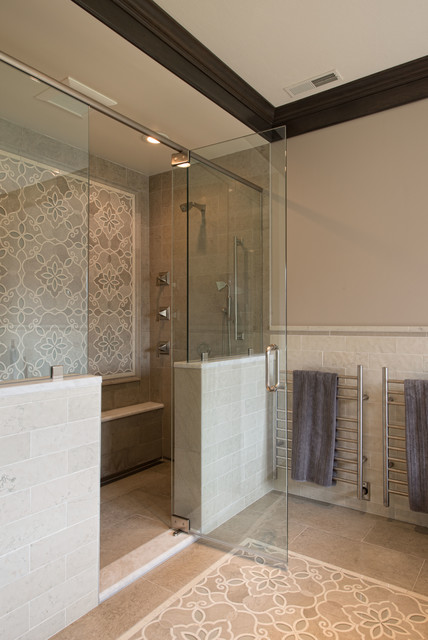 Electric Towel Warmer Bathroom Traditional with Crown Molding Frameless Shower Door Gray Walls Mosaic Tile