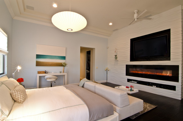 electric wall mount fireplace Bedroom Transitional with 3-D wall covering 3d tile beach bedding bedroom fireplace