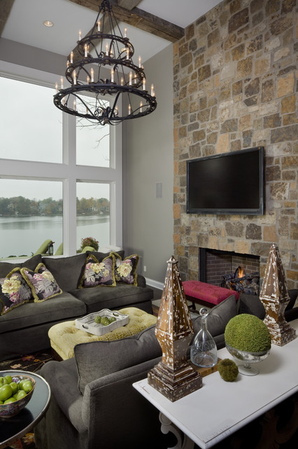 Electric Wall Mount Fireplace Family Room Transitional with Bright Chandelier Eclectic Entertainment Room Exposed Beams Family Room