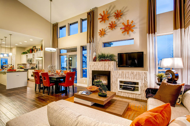 Electric Wall Mount Fireplace Living Room Contemporary with Beige Sectional Beige Sofa Beige Wall Brown and Beige