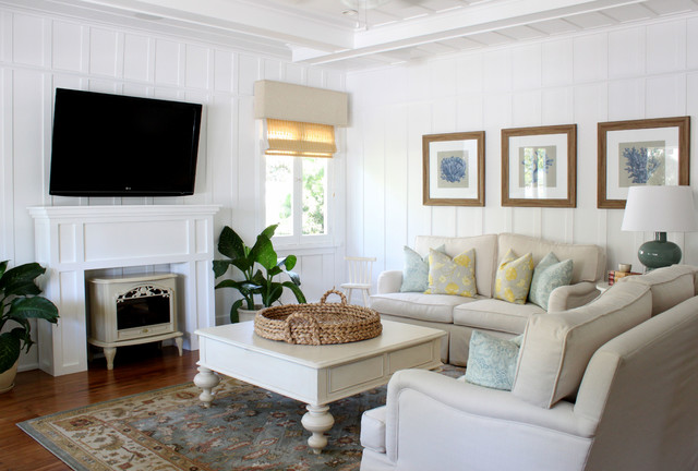 Electric Wall Mount Fireplace Living Room Traditional with Beach Beach Theme Beige Couch Beige Sofa Blue Cottage