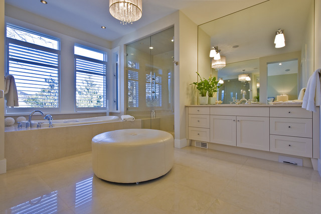 Electrolux Central Vacuum Bathroom Contemporary with Blinds Chandelier Double Sinks Drum Shade Glass Shower Enclosure