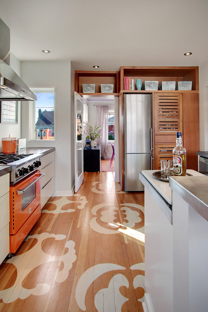 electrolux fridge Kitchen Contemporary with chalkboard countertop eclectic kitchen gas range gray walls grey