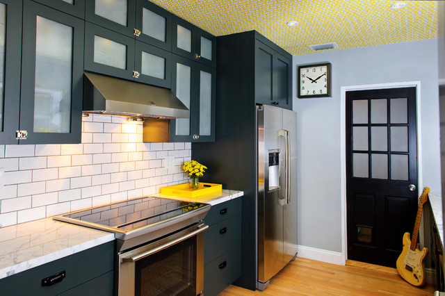 Electrolux Fridge Kitchen Modern with Black Cabinets Cooktop Drawer Pulls Frame and Panel Woodwork