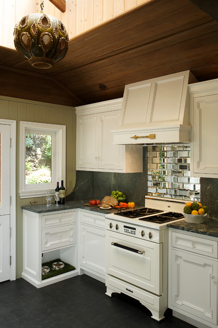Elevated Dog Feeder Kitchen Rustic with Antique Mirror Antique Stove Antiqued Mirror Tile Astroturf Beveled