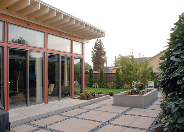 Elevated Planter Box Landscape Contemporary with Eaves Floating Pavers Glass Doors Grass Lawn Planter Raised