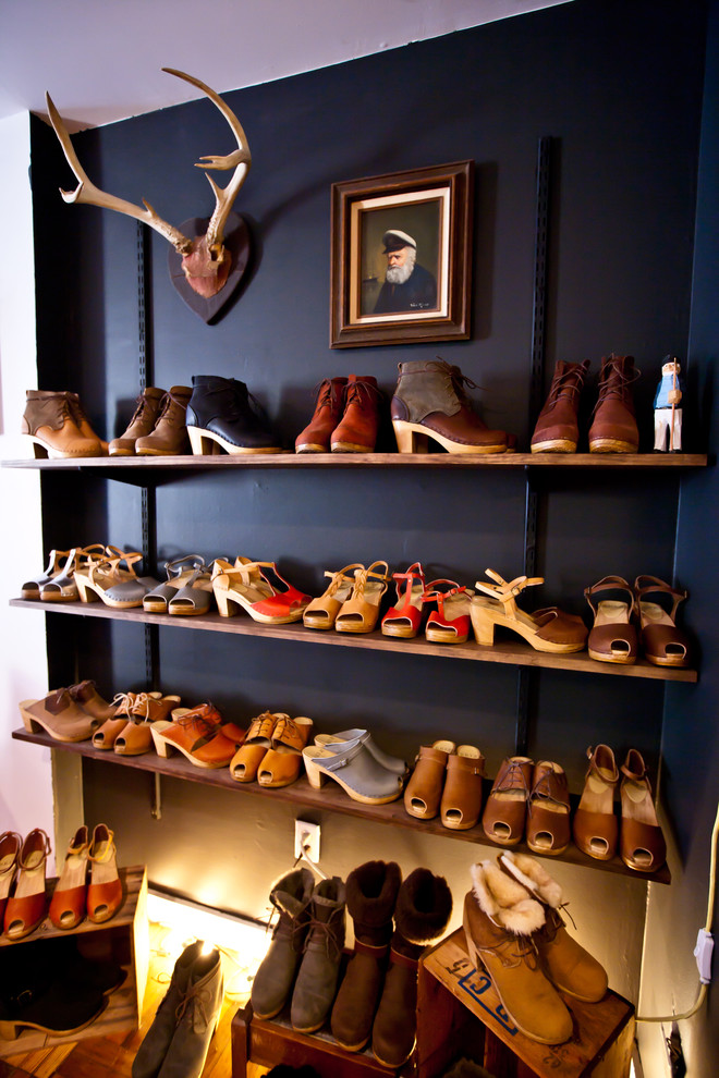 elfa closet Closet Eclectic with antlers black wall chalkboard wall shoe closet