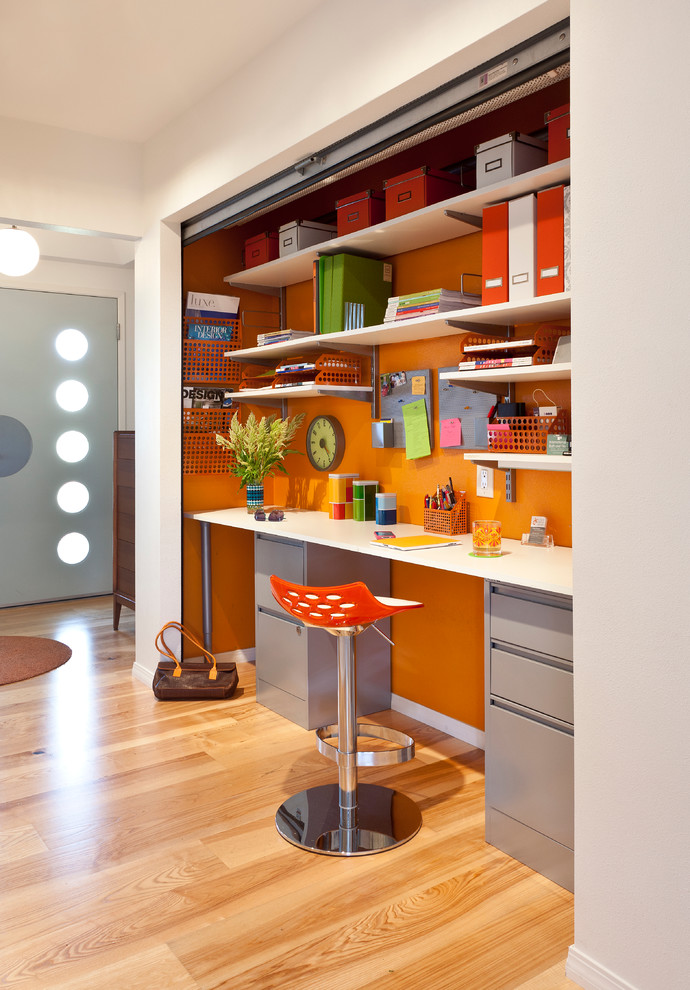 elfa closet Home Office Midcentury with accent wall calligaris jam barstool floating shelves