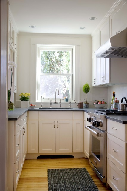 Elfa Storage Kitchen Traditional with Bridge Faucet Ceiling Lighting Double Hung Windows Galley Kitchen