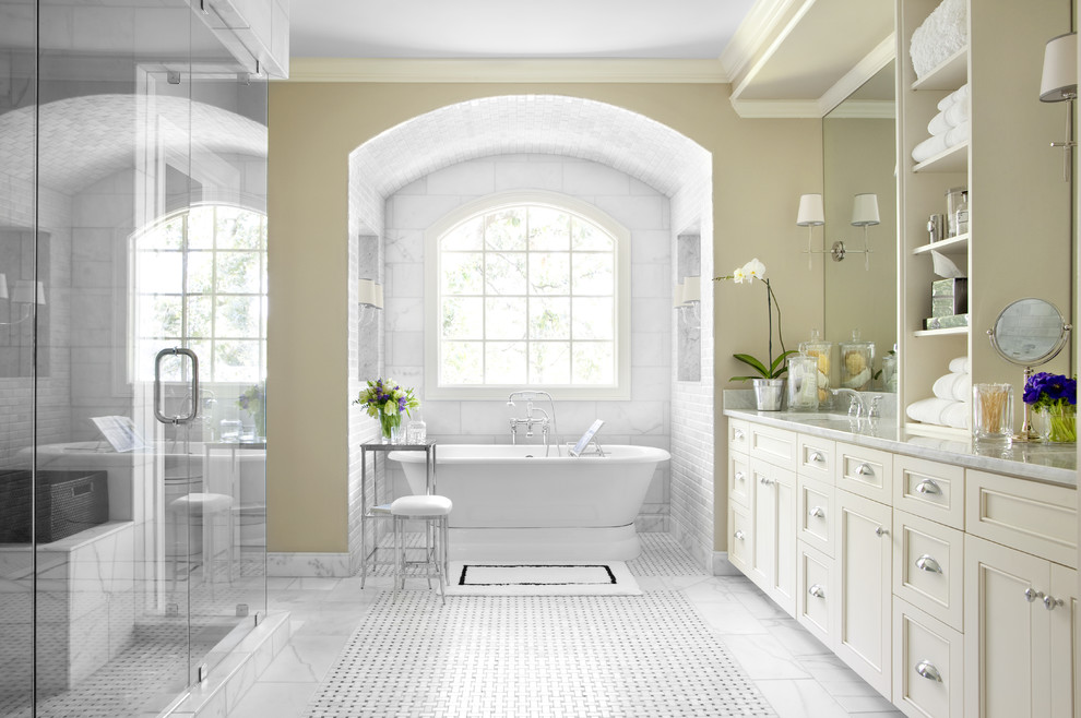 Elizabethan Classics Bathroom Traditional with Arch Bathtub Alcove Built in Shower Bench