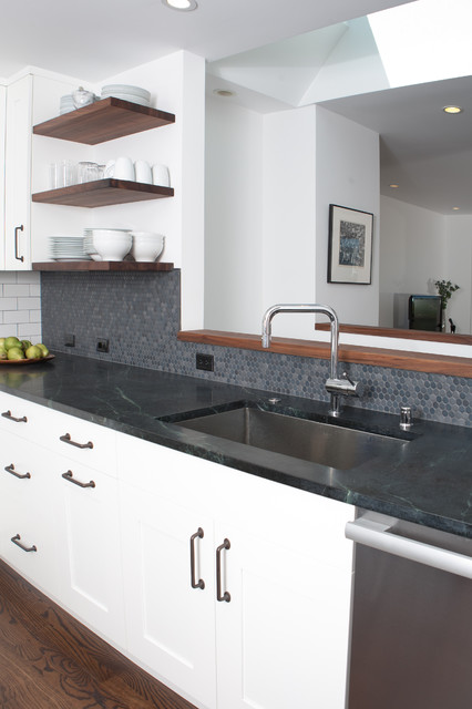 Elkay Faucets Kitchen Modern with Floating Shelves Kitchen Hardware Mosaic Tiles Neutral Colors Open