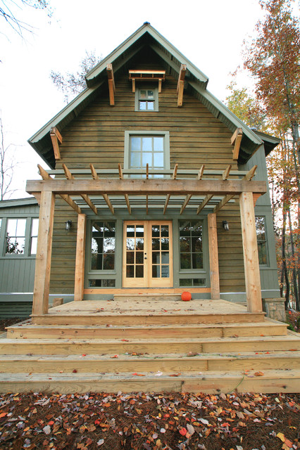 Engineered Wood Siding Exterior Traditional With Corbels  Covered Porch Eaves French Doors Gray Stained Trim