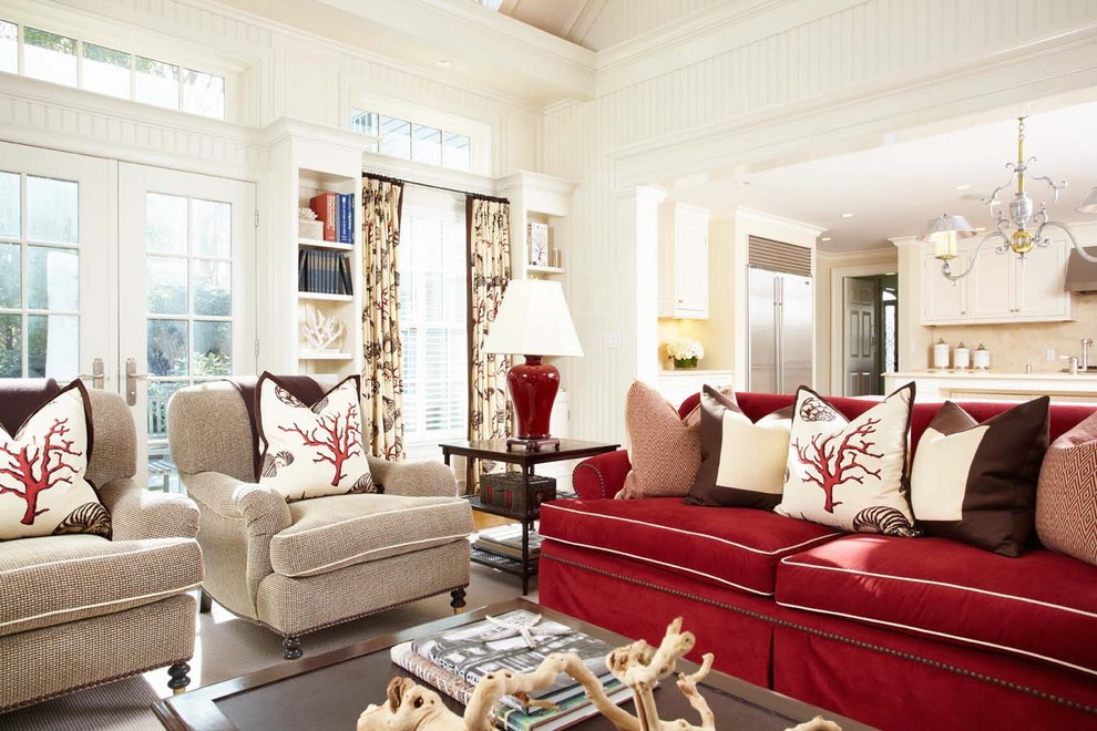 English Roll Arm Sofa Family Room Traditional with Built in Bookcase Chandelier Chocolate and Red