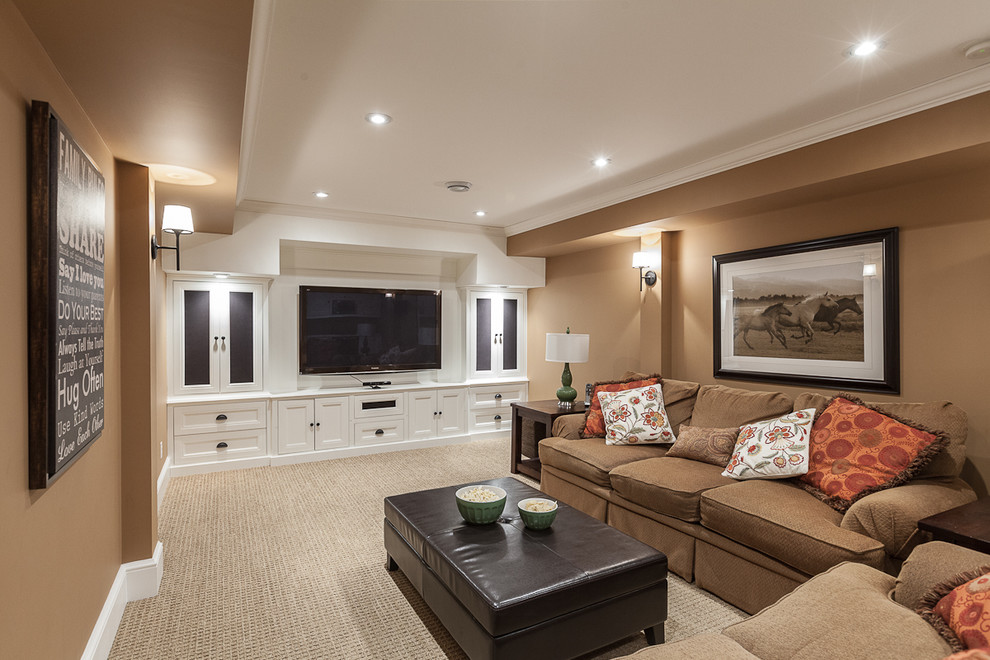 Entertainment Centers for Flat Screen Tvs Family Room Transitional with Basement Beige Carpet Beige Sofa Beige Wall