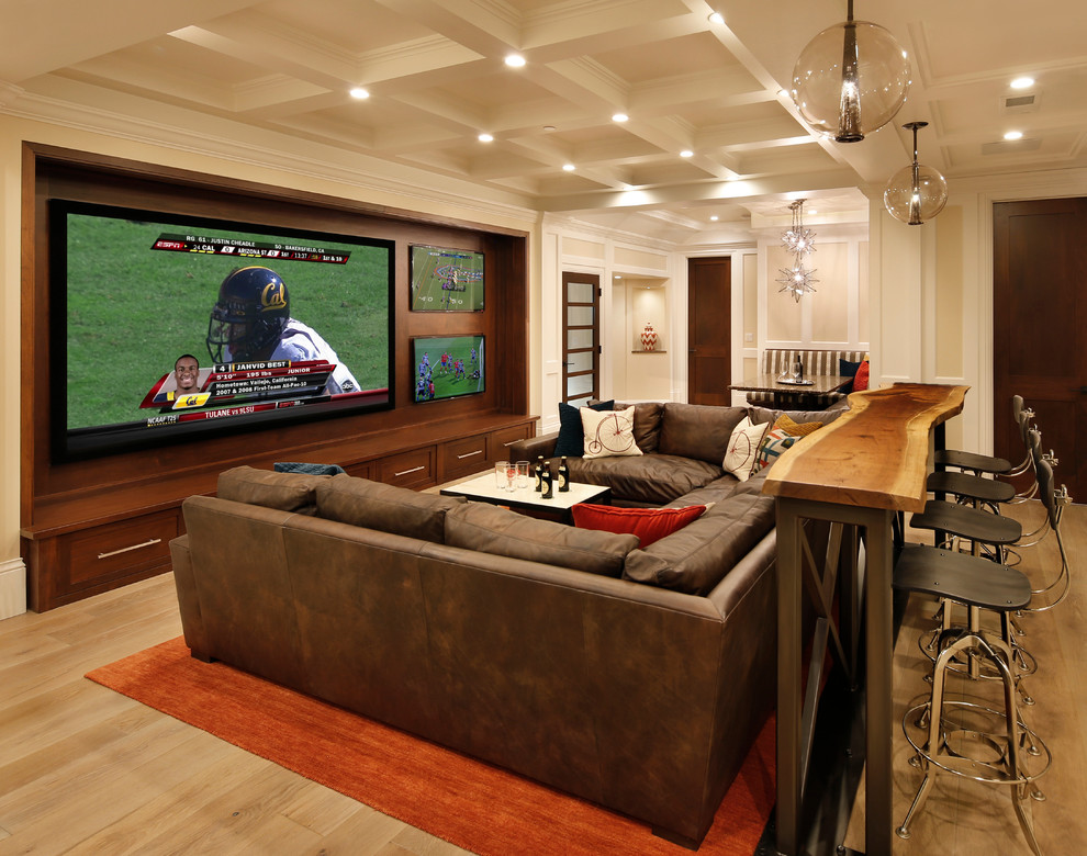 Entertainment Centers for Flat Screen Tvs Home Theater Traditional with Banquette Black Counter Stool Brown Sectional Brown