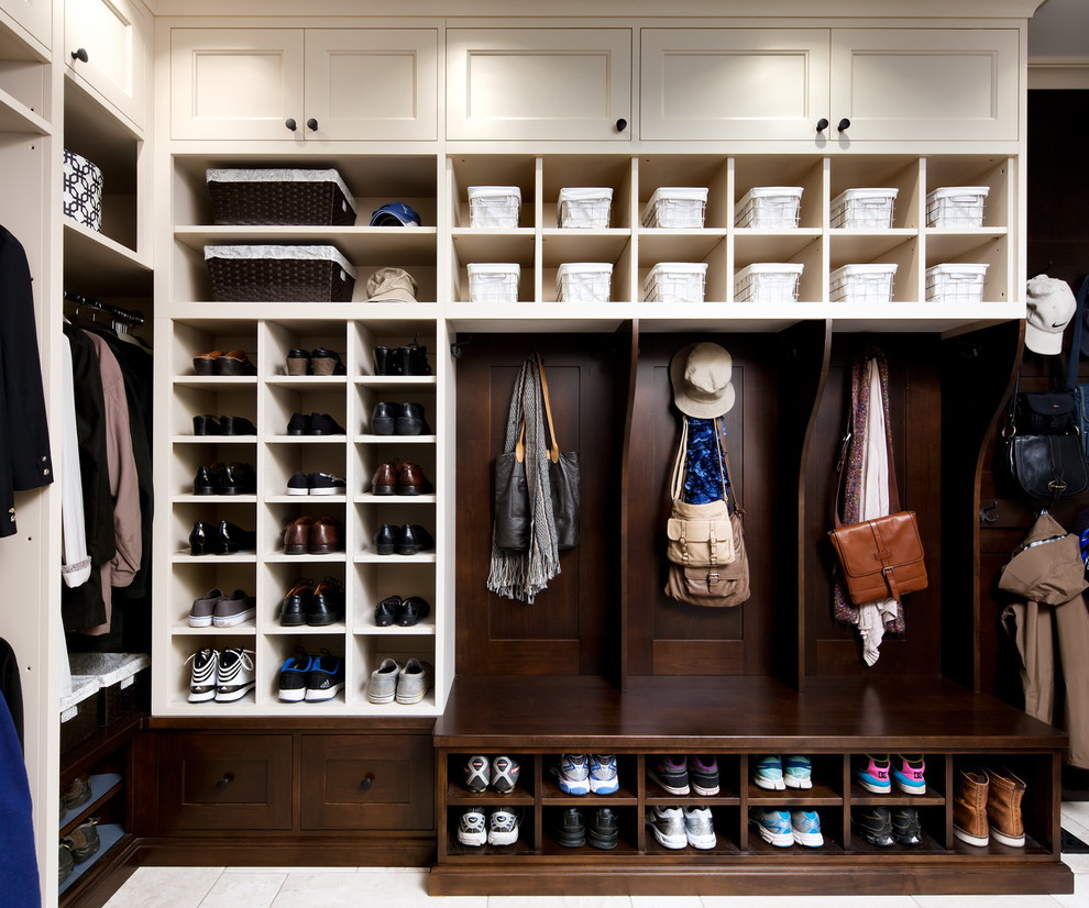 Entry Bench with Shoe Storage Closet Traditional with Baskets Bench Seating Black Hardware Built in Cabinetry