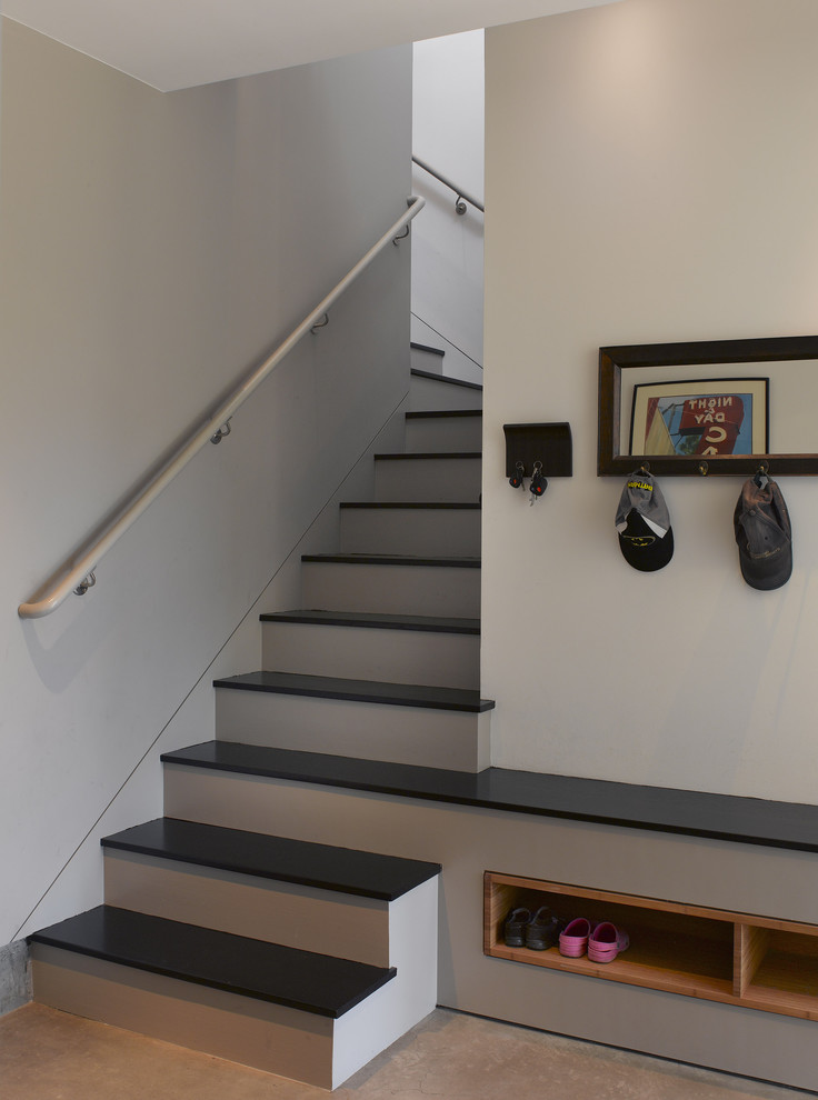 entry bench with shoe storage Staircase Contemporary with built in staircase built in storage hall