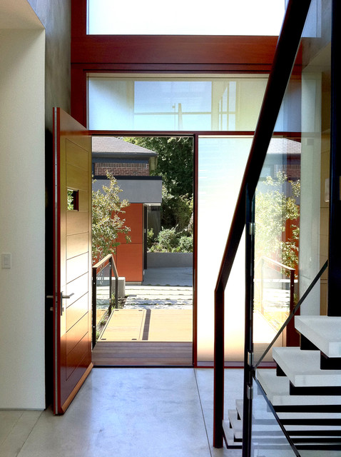 Entry Door with Sidelights Entry Contemporary with Foyer Front Door Frosted Glass Minimal Modern Staircase Sidelights1