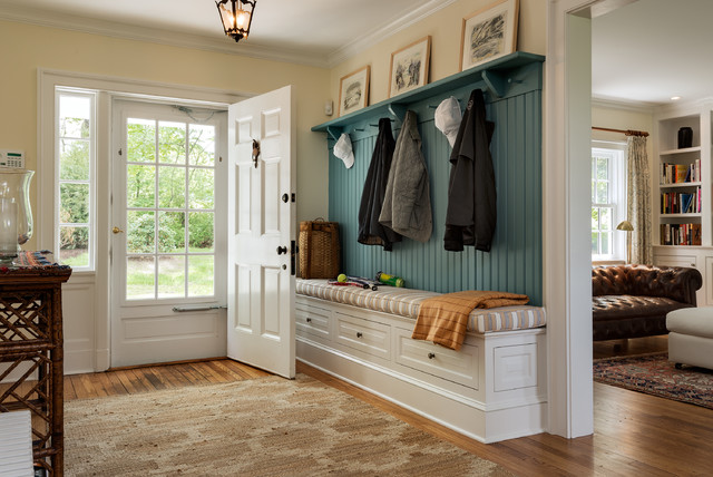 Entryway Bench and Coat Rack Entry Traditional with Bench Cushion Benjamin Moore Paint Built in Cubbies Country