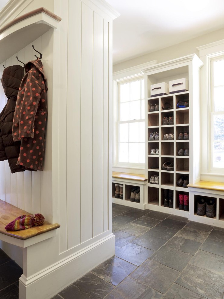 Entryway Bench with Shoe Storage Entry Farmhouse with Baseboards Built in Storage Floor Tile Mudroom