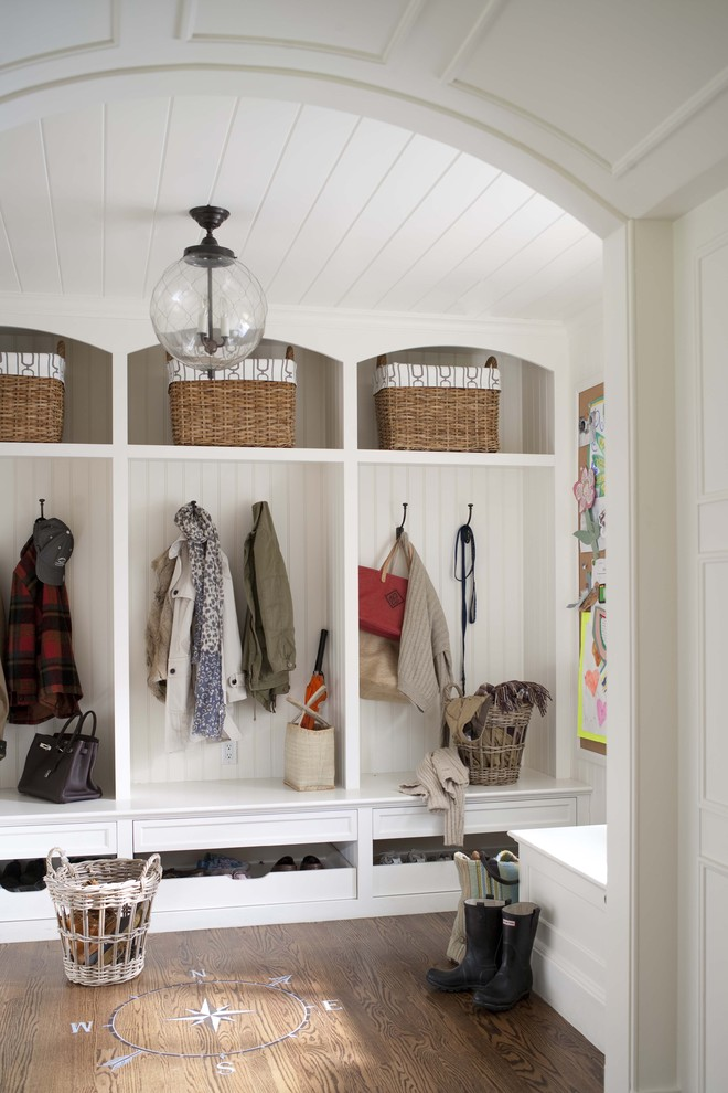 Entryway Bench with Storage Entry Traditional with Arched Cubbies Barrel Vault Ceiling Bead Board