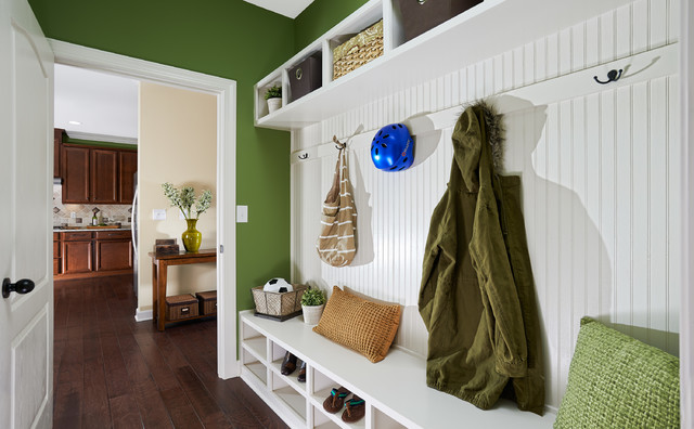 Entryway Hall Tree Entry Traditional with Beadboard Paneling Bench Black Hardware Built in Shelf Closet Cubbies