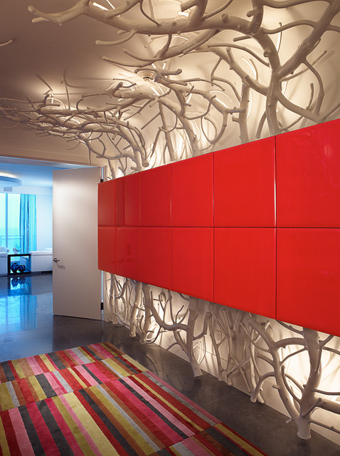 Entryway Hall Tree Hall Contemporary with Area Rug Lacquer Red Red Panel Wall Sculpture Statue