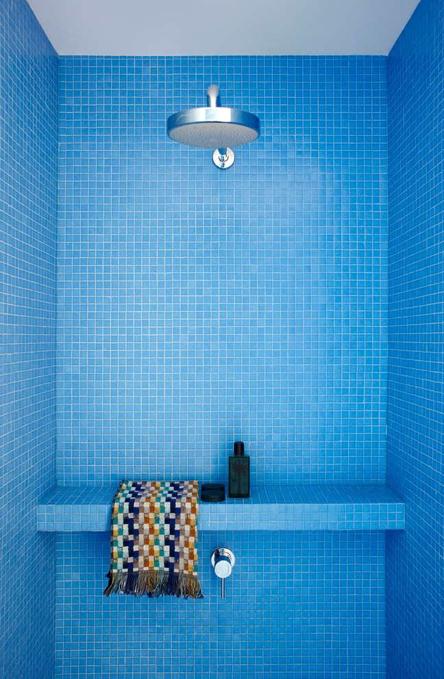 Epoxy Grout Bathroom Modern with Bench Blue Colorful Mosaic Tile Rain Shower