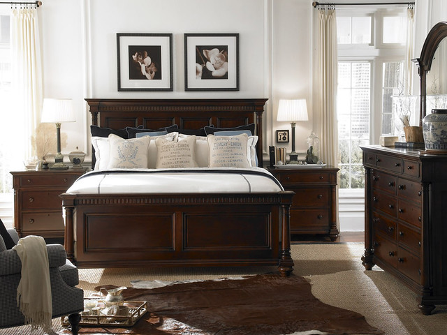 Espresso Nightstand Bedroom Traditional with Bedside Table Chest of Drawers Cowhide Rug Curtain Rods