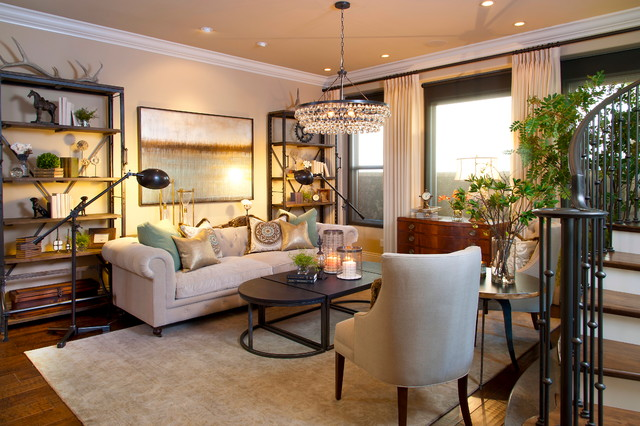 Etageres Living Room Contemporary with Beige Painted Wall Bookshelf Chandelier Coffee Table Console Crown