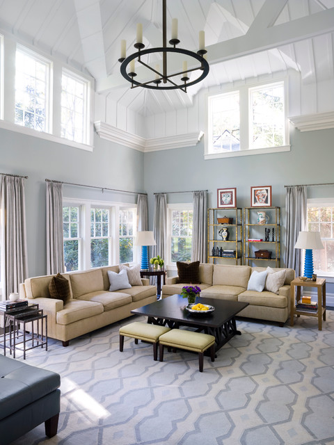 Etageres Living Room Transitional with Beige Sofa Blue and White Area Rug Board And