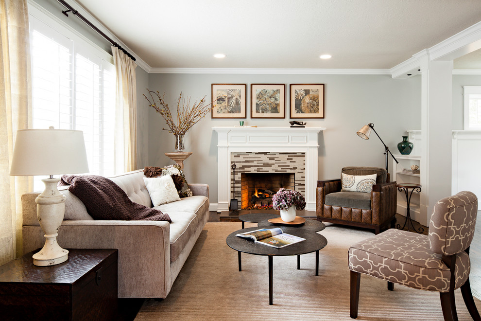 Eternity Flooring Living Room Traditional with Crown Molding Matchstick Tile Fireplace Surround Pedestal