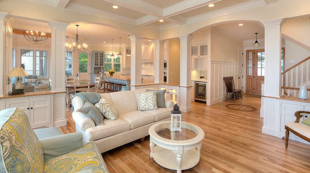 Ethan Allen Bar Stools Living Room Traditional with Armchairs Blues Built Ins Chandelier Coffered Ceiling Columns2
