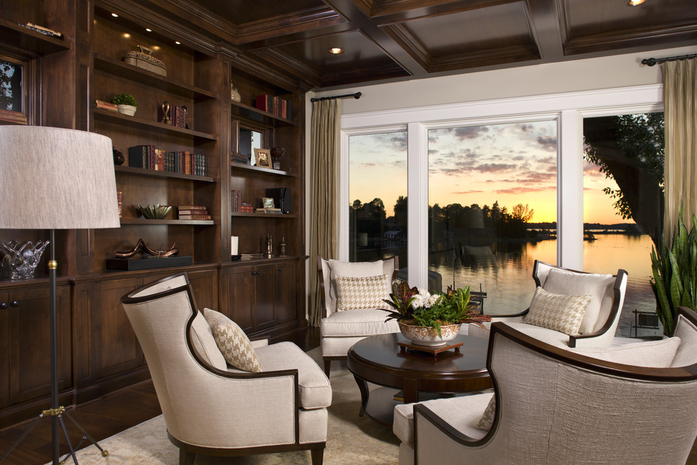 Ethan Allen Dining Chairs Family Room Traditional with Area Rug Armchair Bookcase Bookshelves Built In