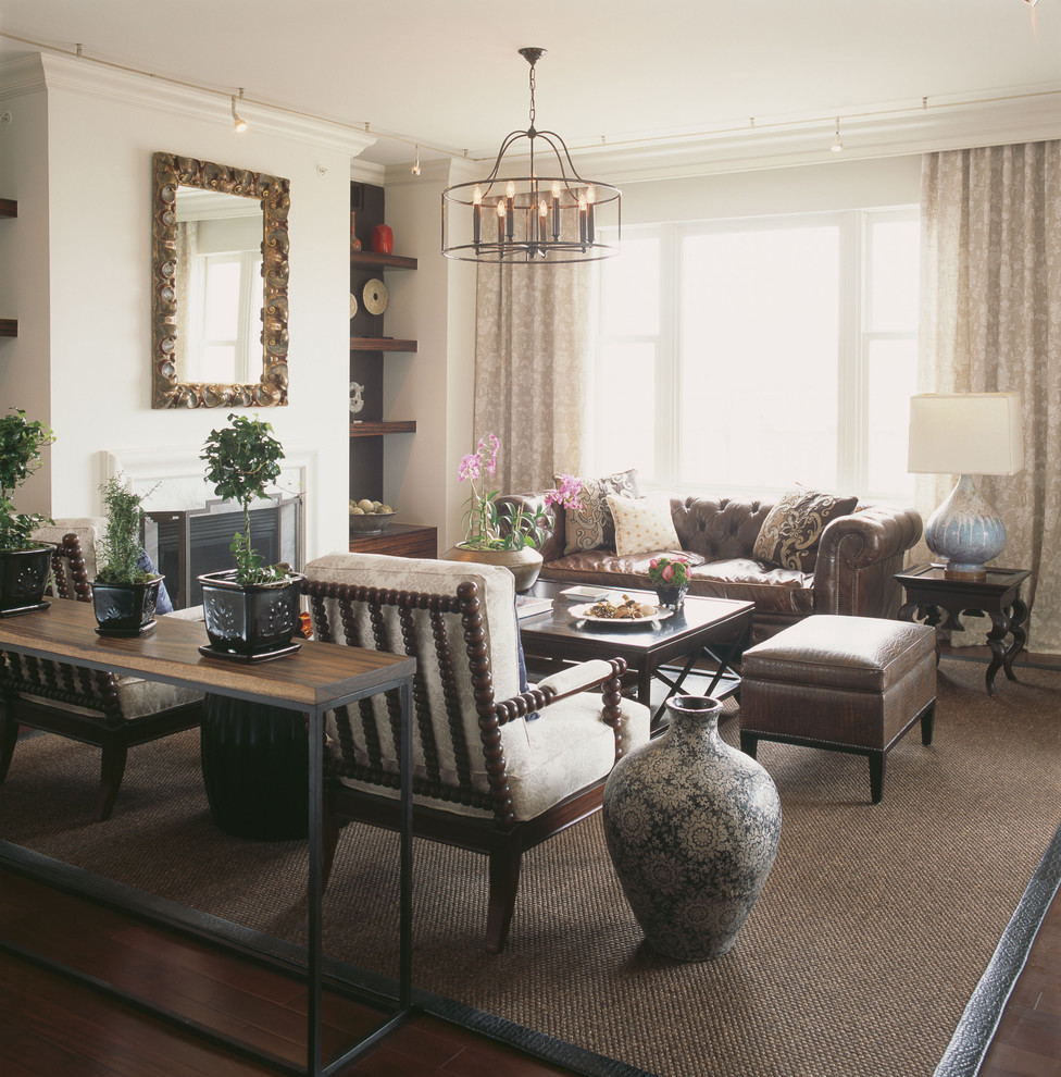Ethan Allen Leather Sofa Family Room Contemporary With Area Rug Built In  Shelves Chesterfield Sofa