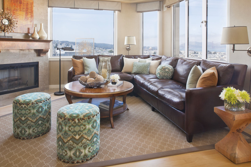 Ethan Allen Leather Sofa Family Room Traditional with Accent Tables Area Rug Brown Leather Couch