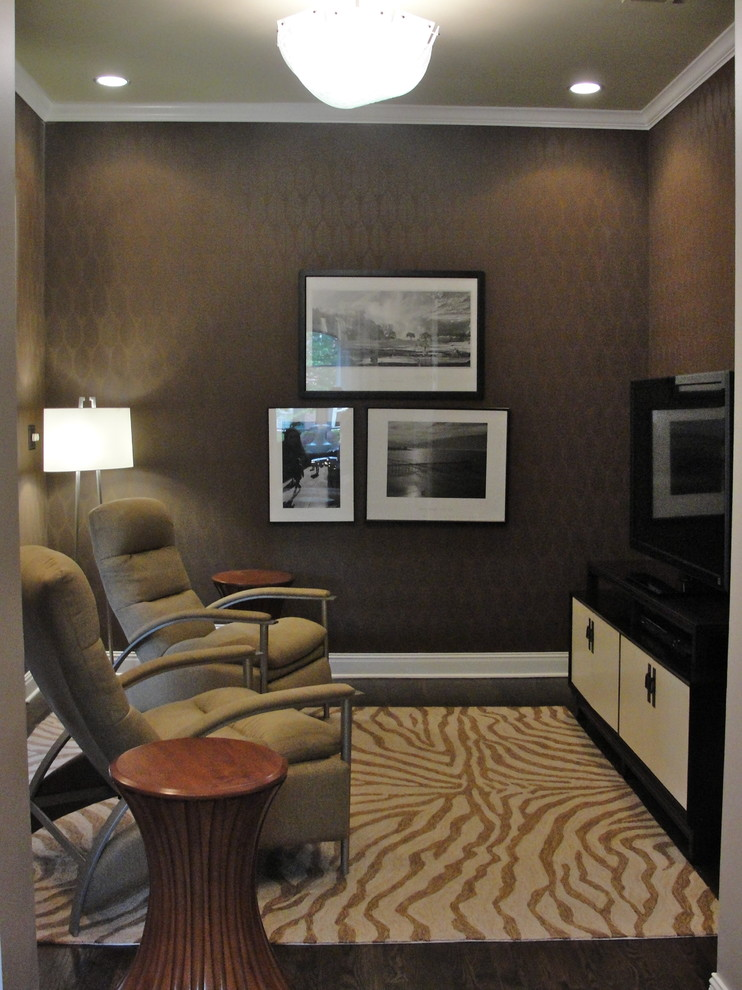ethan allen leather sofa Home Theater Contemporary with area rug baseboards crown molding dark floor