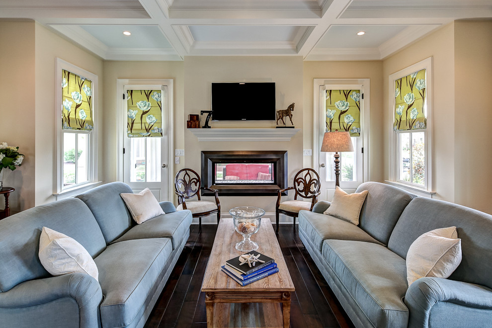 Ethan Allen Leather Sofa Living Room Traditional with Blue Sofa Chair Coffee Table Coffer Ceiling