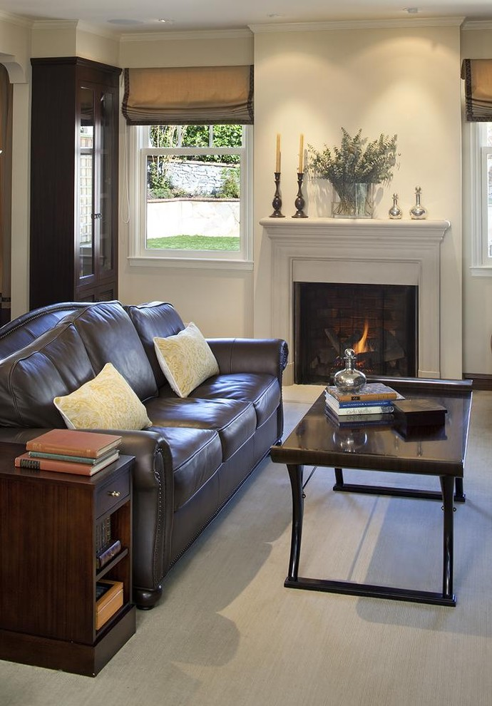Ethan Allen Leather Sofa Living Room Traditional with Candles Candlesticks Ceiling Lighting Decorative Pillows End