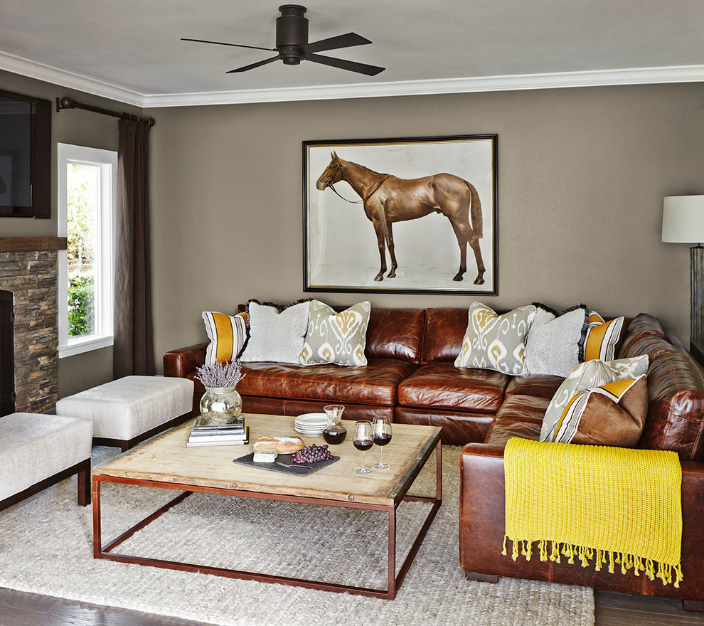 Ethan Allen Leather Sofa Living Room Transitional with Braided Rug Ceiling Fan Decorative Pillows Horse