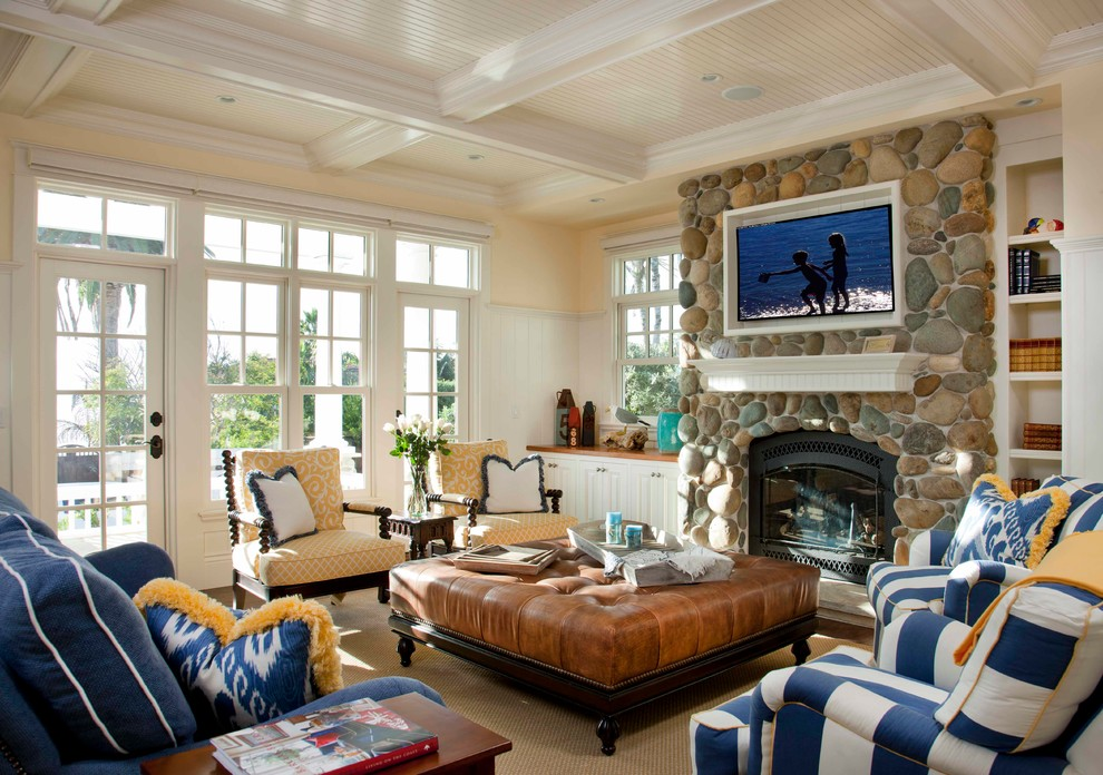 Ethan Allen Tv Stands Living Room Traditional with Beach Blue and White Striped Armchair Blue