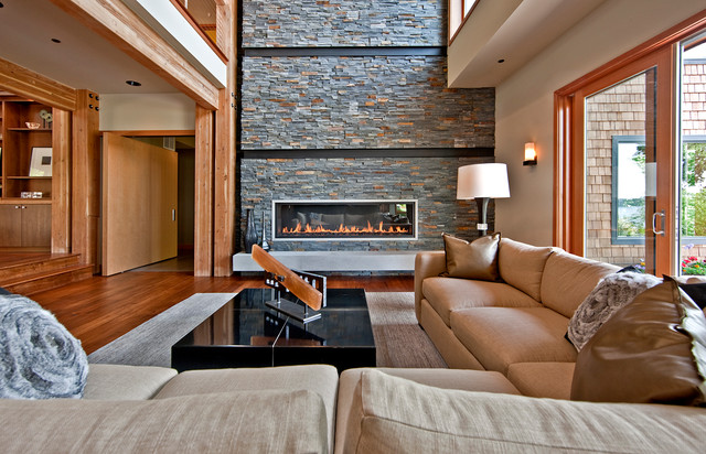 ethanol fireplaces Living Room Contemporary with black lacquer coffee table cable rails glass doors high