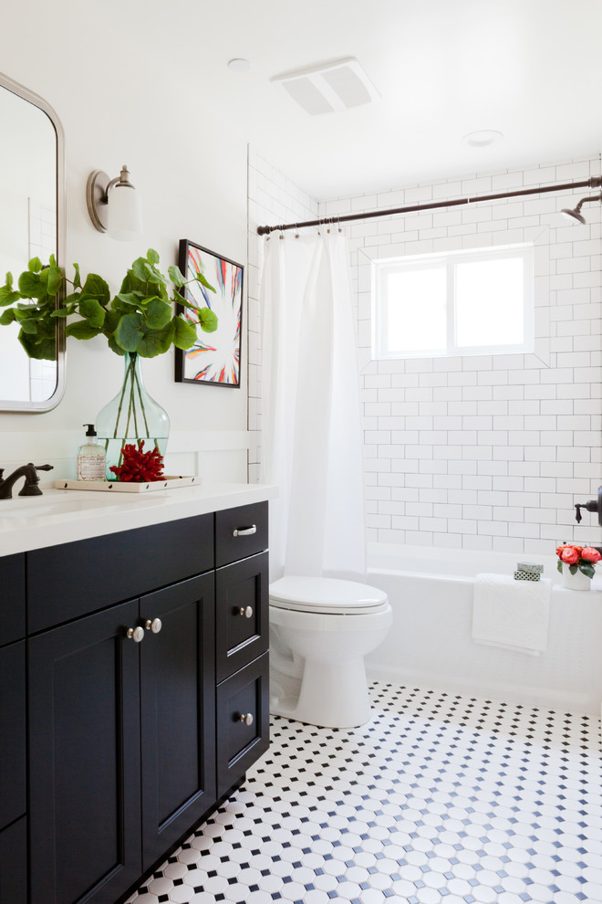 Eucalyptus Flooring Bathroom Beach with Black and White Octagon and Dot Shower