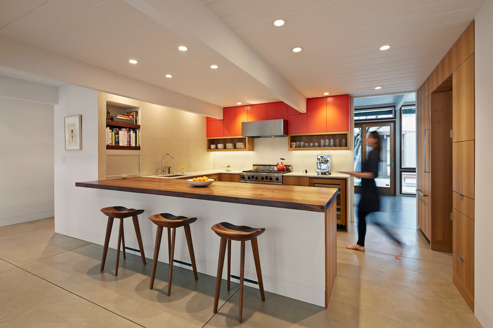 Eucalyptus Flooring Kitchen Midcentury with Accent Color Cabinet Eucalyptus Cabinets Exposed Beam
