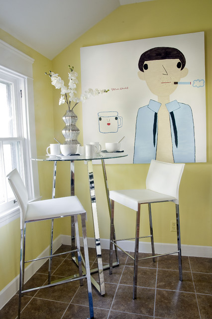 Eurostyle Furniture Dining Room Eclectic with Artwork Bar Table Cafe Table Chrome Accents Floor Tile