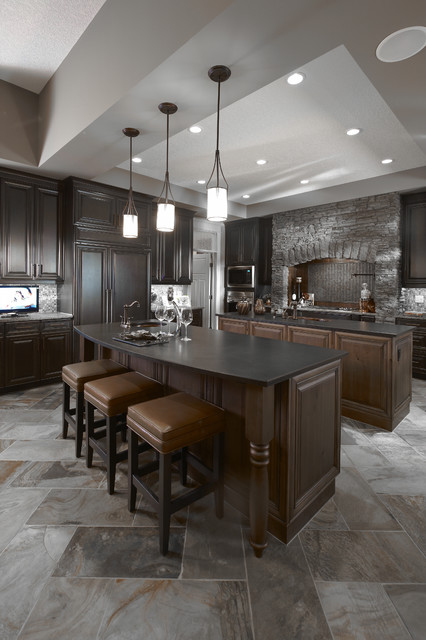 faber hoods Kitchen Traditional with breakfast bar cabinet front refrigerator ceiling lighting dark wood