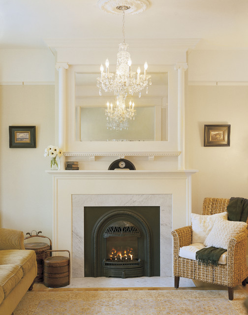 Fake Fireplace Mantel Living Room Victorian With Chandelier Mirror Above Traditional White
